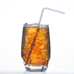 Root beer flavor carbonated drinks whit soda in glass isolated