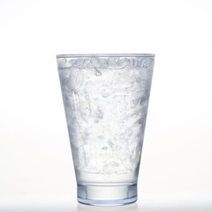 Sprite drinks whit sparkling soda and ice in glass isolated