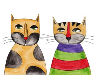 Cats. Ink and watercolors on paper