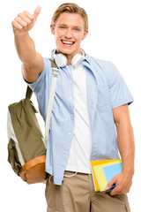 Successful college student back to school thumbs up isolated on