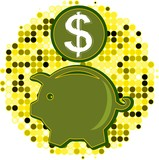 Vector illustration of piggy-bank with dollar