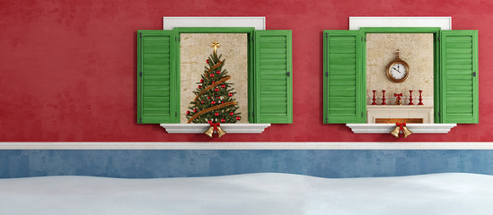 Red and blue house with christmas decoration
