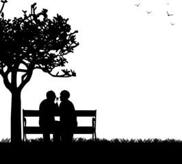 Lovely retired elderly couple in park  with flower