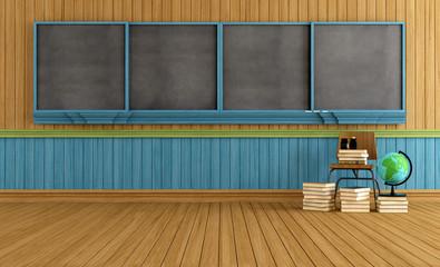 Wooden empty classroom