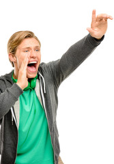 Happy young man shouting isolated on white background