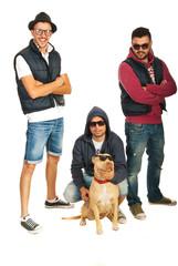 Funky hip hop guys with pitbull dog