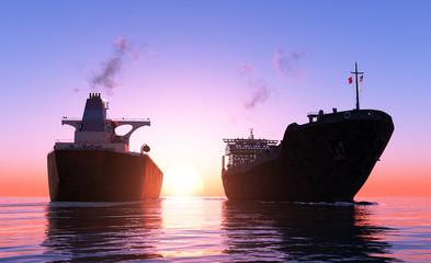 Two cargo ship