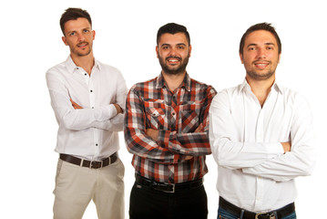 Happy three casual business men