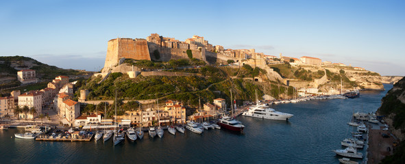 Bonifacio fortifications and harbor, Corsica, France