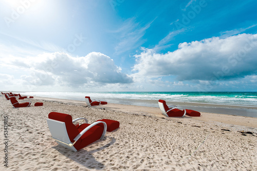 Relaxing seats on the beach