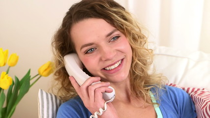 Caucasian woman talking on the phone
