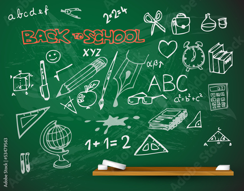 vector school blackboard illustration