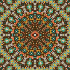 Ornamental round aztec geometric pattern