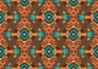 Seamless colorful aztec geometric pattern