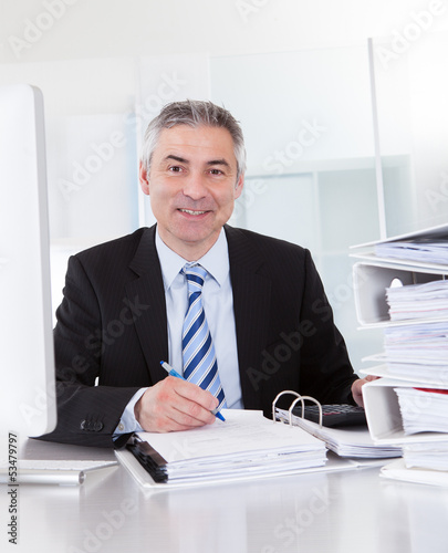 Mature Businessman At Work