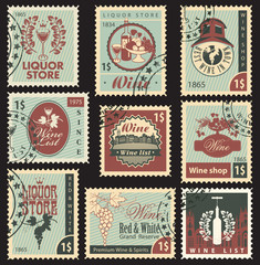 set of postal stamps on theme of wine and liquor
