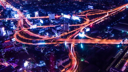 Express highway in the heart of Bangkok , Video zoom in effect