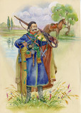Ukrainian Cossack horse around, watercolor