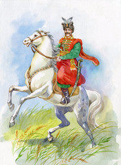Ukrainian Cossack on a white horse