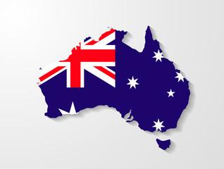 Australia map with shadow effect presentation