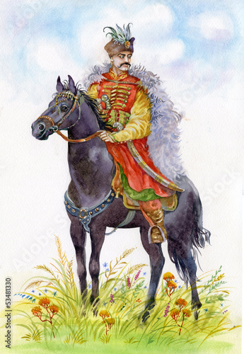 Ukrainian Cossack on a black horse