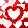 Heart of rose petals greeting