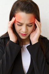 woman with headache, migraine, stress, with red danger accent