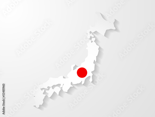Japan map with shadow effect presentation