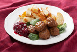 swedish meatballs with potatoes and lingon jam