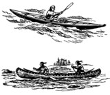 Primitive boats at sea