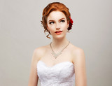 Sentimentality. Red Hair Woman with Flower in Head. Femininity