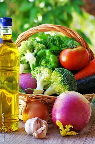 Full basket of vegetables