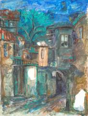 istanbul evleri sulu boya tablo