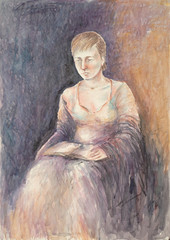 sulu boya tablo oturan kadın