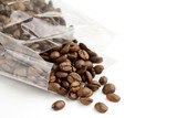 Fototapety roasted coffee beans in a transparent bag