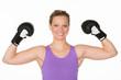 woman presents her biceps
