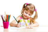 Fototapety child girl drawing with colourful pencils