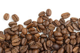 edge of coffee beans on white background