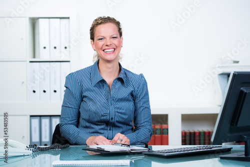 glad and laughing businesswoman