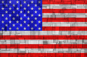 American Flag on a wooden Background