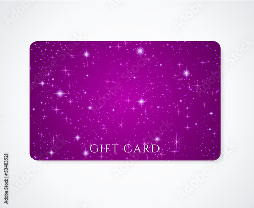 Gift / Business / Discount card template. Night sky (stars)