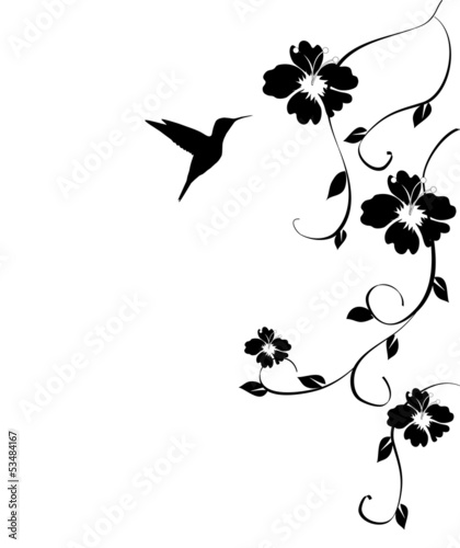 vector hummingbird card