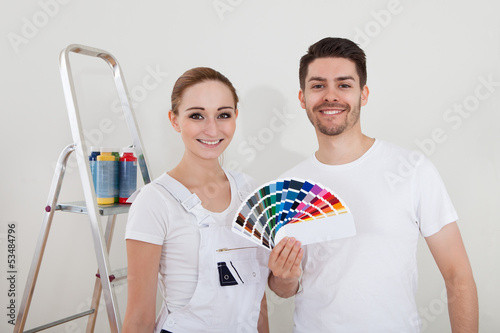 Young Couple With Color Samples
