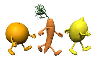 orange, carrot and lemon with arms and legs that running