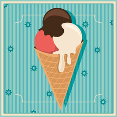 Retro background with ice cream.