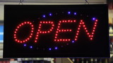 Open sign of a store. Find similar clips in our portfolio.