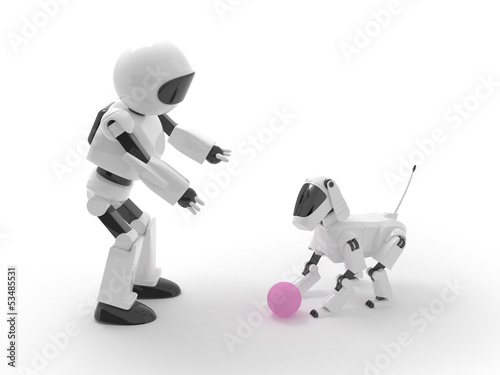 robot play with dog