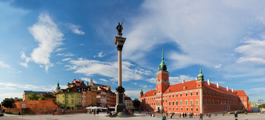 Panorama of the old town in Warsaw, Poland