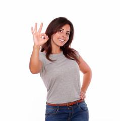 Charming young woman saying great job