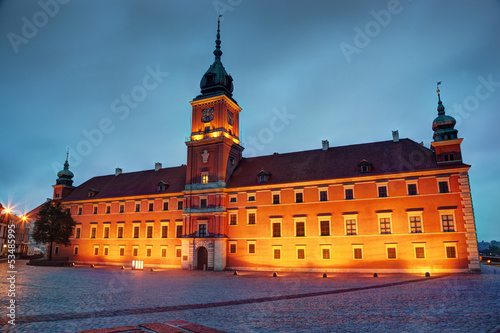Royal Castle in Warsaw, Poland at the evening